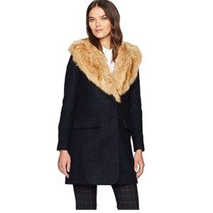 NEW Belle by Badgley Mischka Wool 'Holly' Boucle Navy Faur Fur Coat Size L